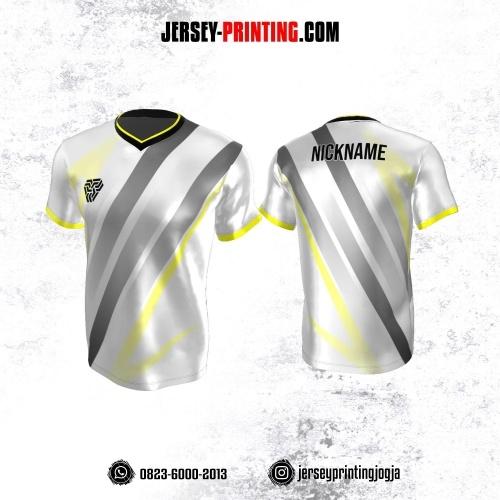 Jersey Atasan Badminton Volly Lari Futsal Putih Motif Garis Abu-abu Kuning