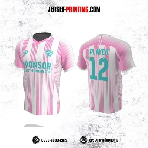 Jersey Atasan Badminton Volly Lari Futsal Putih Motif Garis Pink