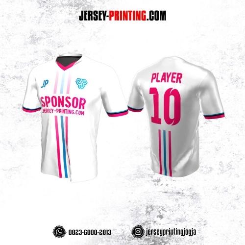 Jersey Atasan Badminton Volly Lari Futsal Putih Motif Garis Pink Biru