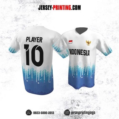 Jersey Atasan Badminton Volly Lari Futsal Putih Motif Gradasi Biru