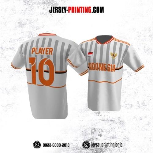 Jersey Atasan Badminton Volly Lari Futsal Putih Motif Stripe Abu-abu Orange