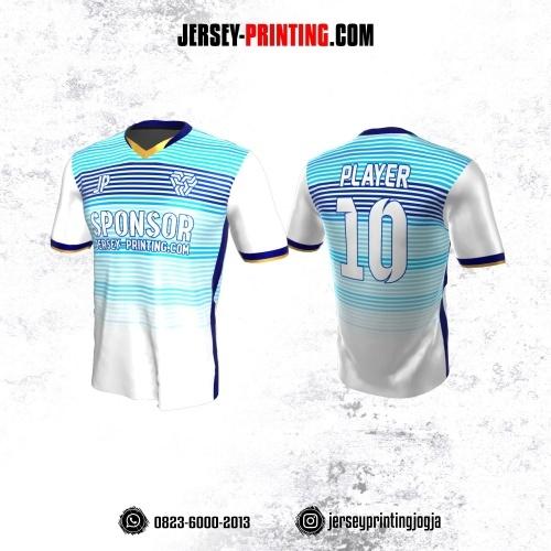 Jersey Atasan Badminton Volly Lari Futsal Putih Motif Stripe Biru