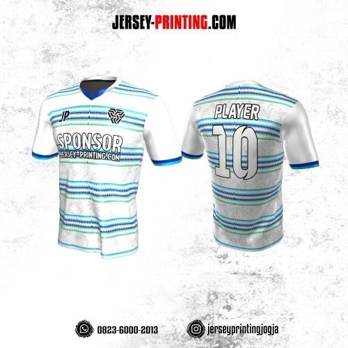Jersey Atasan Badminton Volly Lari Futsal Putih Motif Zigzag Biru Hijau