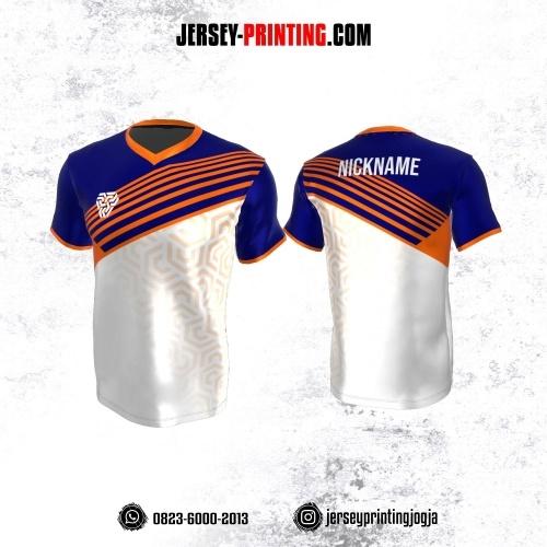 Jersey Atasan Badminton Volly Lari Futsal Putih Navy Orange Motif Abstrak