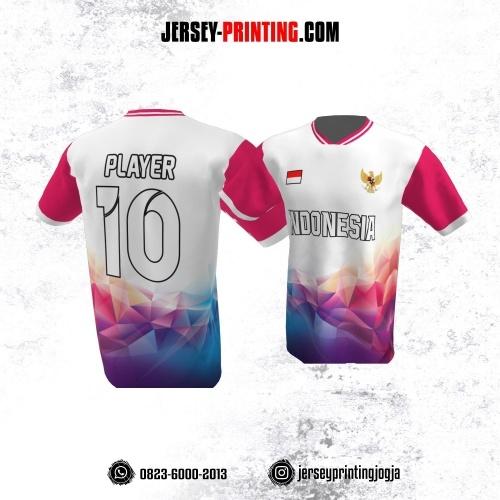 Jersey Atasan Badminton Volly Lari Futsal Putih Pink Motif Abstrak