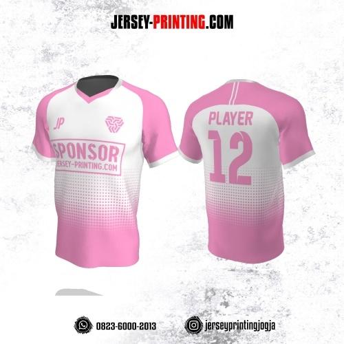 Jersey Atasan Badminton Volly Lari Futsal Putih Pink Motif Polkadot