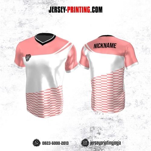 Jersey Atasan Badminton Volly Lari Futsal Putih Pink Motif Strip