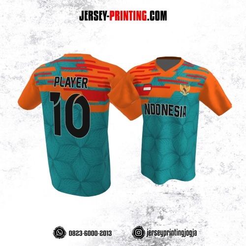 Jersey Atasan Badminton Volly Lari Futsal Tosca Orange Motif Pola Bunga