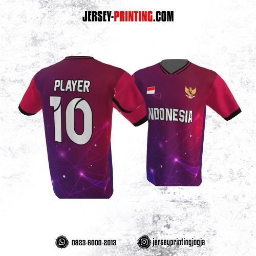 Jersey Atasan Badminton Volly Lari Futsal Ungu Gradasi Pink Motif Light Glow