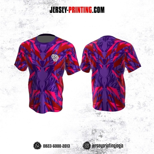 Jersey Atasan Badminton Volly Lari Futsal Ungu Merah Pink Motif Geometris