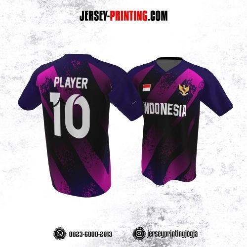 Jersey Atasan Badminton Volly Lari Futsal Ungu Motif Brush Pink
