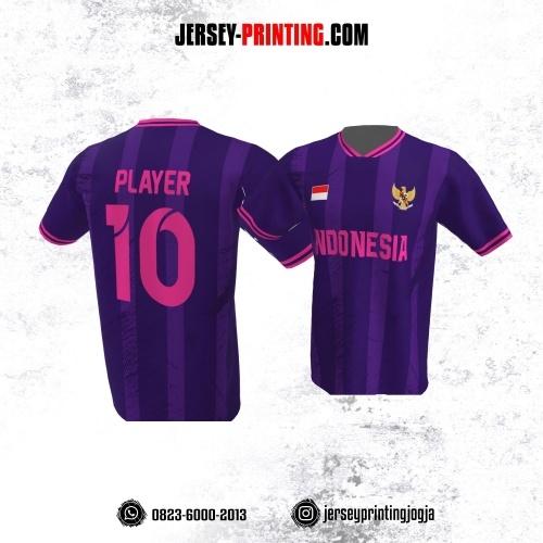 Jersey Atasan Badminton Volly Lari Futsal Ungu Pink Motif Stripe