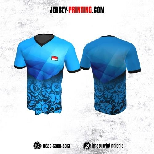 Jersey Badminton Biru Corak Batik Hitam