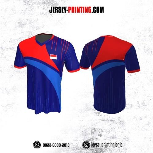 Jersey Badminton Biru Corak Garis Orange