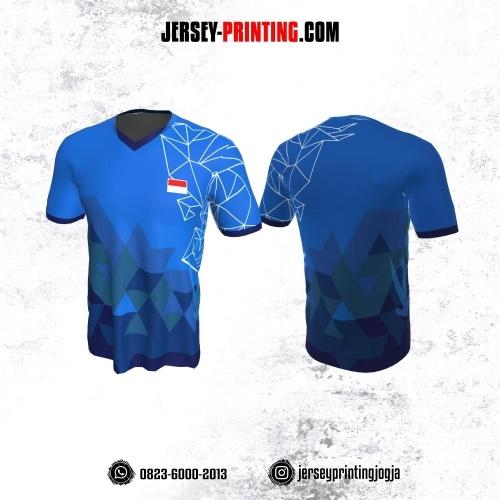 Jersey Badminton Biru Corak Geometris  Line Putih