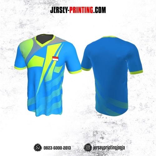 Jersey Badminton Biru Corak Hijau Abu