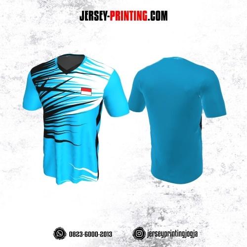 Jersey Badminton Biru Corak Hitam Putih