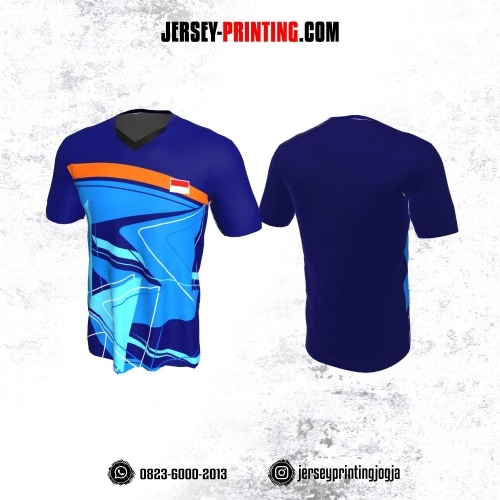 Jersey Badminton Biru Corak Orange Putih