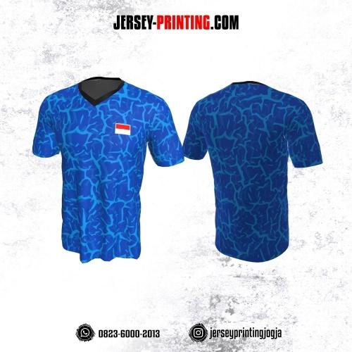 Jersey Badminton Biru Motif Abstrak