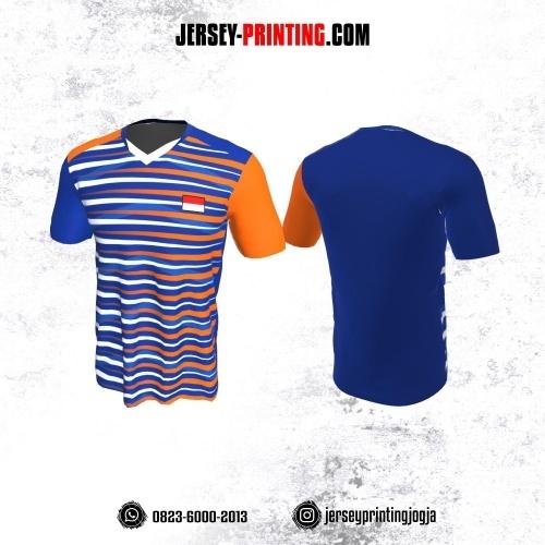 Jersey Badminton Biru Motif Strip Orange Putih