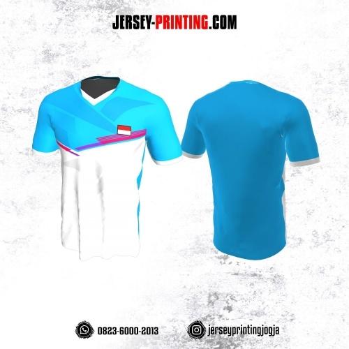 Jersey Badminton Biru Muda Putih Garis Pink
