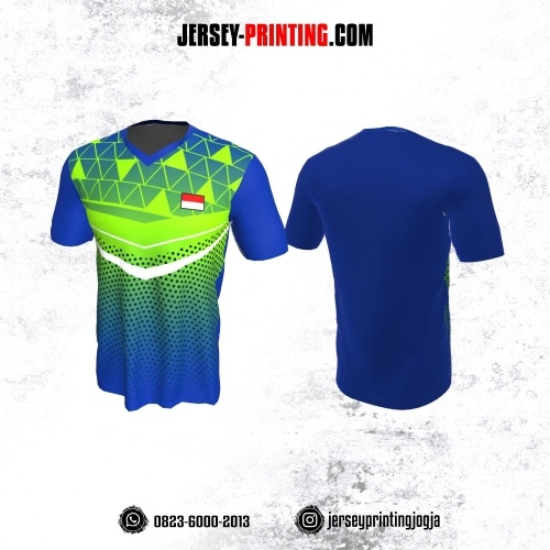 Jersey Badminton Biru Navy Hijau Motif Geometris dan Polkadot