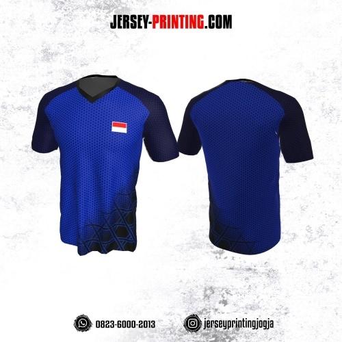 Jersey Badminton Biru Navy Hitam Motif Polkadot dan Garis Abstrak