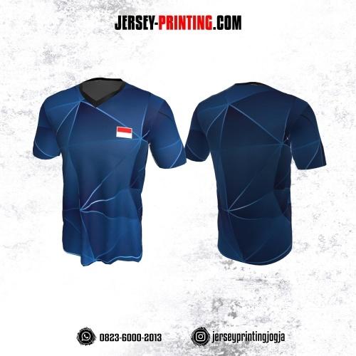 Jersey Badminton Biru Navy Motif Geometris