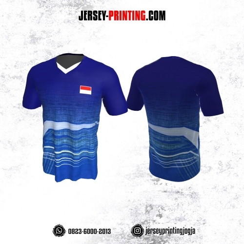 Jersey Badminton Biru Navy Putih Motif Line
