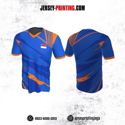 Jersey Badminton Biru Orange Garis Abstrak