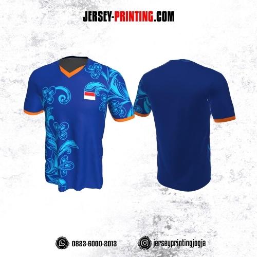 Jersey Badminton Biru Orange Motif Bunga