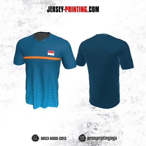 Jersey Badminton Biru Orange Motif Garis