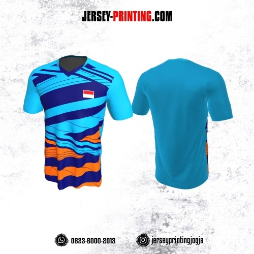 Jersey Badminton Biru Orange Motif Garis Abstrak