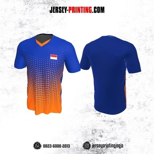 Jersey Badminton Biru Tua Orange Motif Segitiga