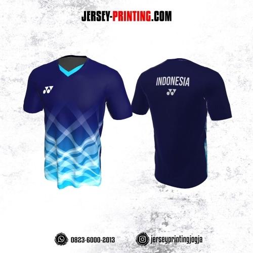Jersey Badminton Dongker Biru Corak Putih Transparan