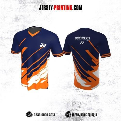 Jersey Badminton Dongker Corak Orange Putih