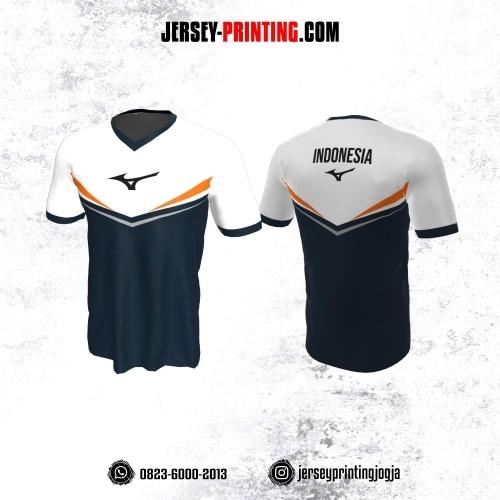 Jersey Badminton Dongker Corak Putih Orange