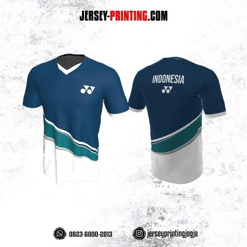 Jersey Badminton Dongker Corak Putih Teal