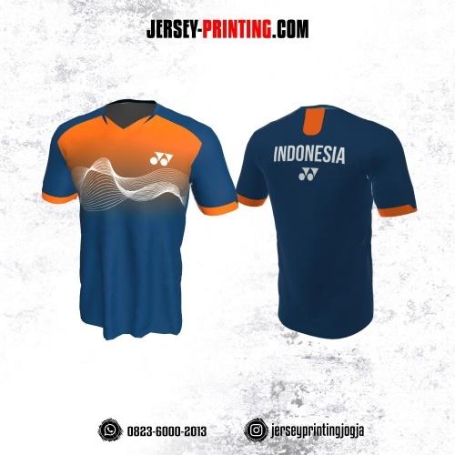 Jersey Badminton Dongker Orange Motif Abstrak Putih