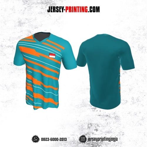 Jersey Badminton Hijau Teal Garis Orange Putih