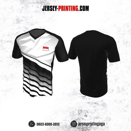Jersey Badminton Hitam Abu-abu Motif Garis Putih