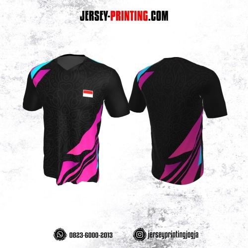 Jersey Badminton Hitam Corak Batik Abu Pink