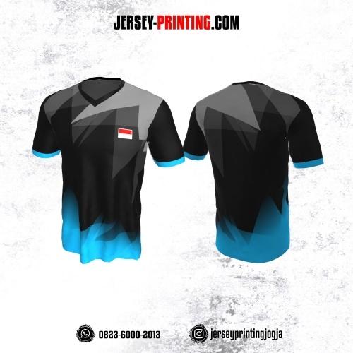 Jersey Badminton Hitam Corak Biru Abu