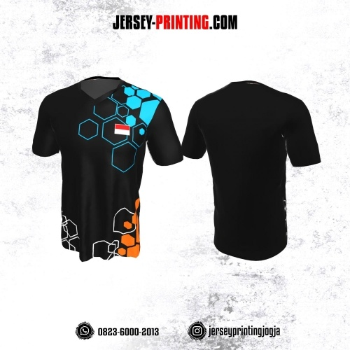 Jersey Badminton Hitam Corak Biru Orange Hexagon