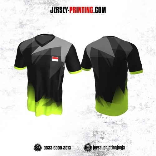 Jersey Badminton Hitam Corak Hijau Abu