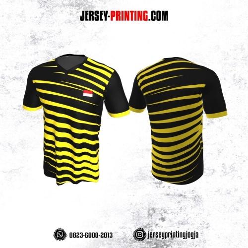 Jersey Badminton Hitam Corak Kuning