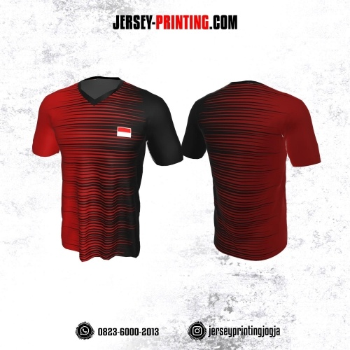Jersey Badminton Hitam Corak Merah
