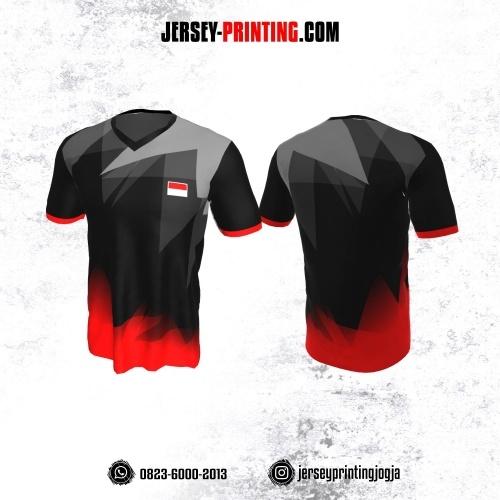 Jersey Badminton Hitam Corak Merah Abu