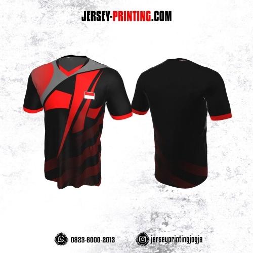 Jersey Badminton Hitam Corak Merah Abu Strip