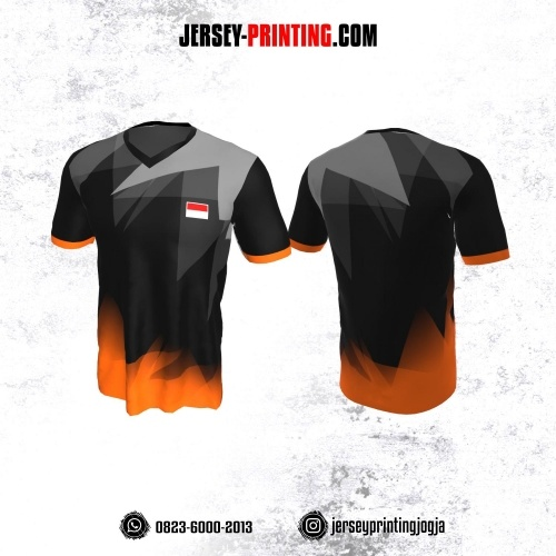 Jersey Badminton Hitam Corak Orange Abu